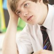 Stressed Male Teenage Student Studying In Classroom — Stock Photo #11880204