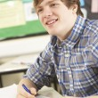Male Teenage Student Studying In Classroom — Foto Stock