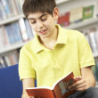 Stock Photo: Male Teenage Student In Library Reading Book