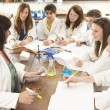 Group Of Teenage Students In Science Class With Tutor — Stock Photo #11880483