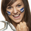 Stock Photo: Young Female Sports FWith Honduras Flag Painted On Face