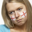Sad Young Female Sports Fan With St Georges Flag Painted On Face — Stock Photo #11880503