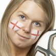 Young Female Football Fan With St Georges Flag Painted On Face — Stock Photo #11880510