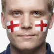 Young Male Sports Fan With St Georges Flag Painted On Face — Stock Photo