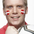 Young Male Football Fan With Danish Flag Painted On Face — Stock Photo