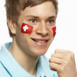 Young Male Sports Fan With Swiss Flag Painted On Face — Stock Photo