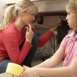 Daughter Helping Mother To Mop Up Leaking Sink — Stock Photo
