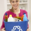 Woman Holding Recyling Waste Bin At Home — Stock Photo