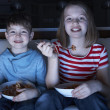 Children Enjoying Meal Whilst Watching TV — Stock Photo