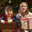 Children Opening Christmas Present In Front Of Tree — Foto Stock