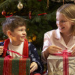 Children Opening Christmas Present In Front Of Tree - Stockfoto