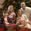 Family Opening Christmas Present In Front Of Tree - Stockfoto