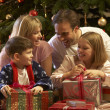 Family Opening Christmas Present In Front Of Tree — Foto de Stock