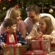 Family Opening Christmas Present In Front Of Tree — Stock Photo