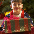 Young Boy Opening Christmas Present In Front Of Tree — 图库照片