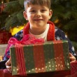 Young Boy Opening Christmas Present In Front Of Tree - Foto Stock