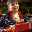 Stock Photo: Young Boy Opening Christmas Present In Front Of Tree