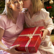 Daughter Giving Mother Christmas Present In Front Of Tree — Stock Photo