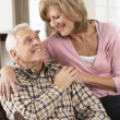 Happy Senior Couple Relaxing At Home — Stock Photo