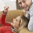 Couple Looking At Result Of Home Pregnancy Test Kit — Stock Photo