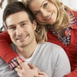 Portrait Of Happy Young Couple At Home — Stock Photo
