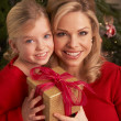 Daughter Giving Mother Christmas Gift — Stock Photo