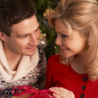 Couple Exchanging Christmas Gifts - Foto de Stock