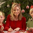 Mother And Children Making Christmas Cards Together — Stock Photo
