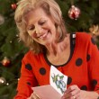 Senior Woman Making Christmas Cards At Home — Stock Photo #11881068