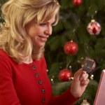 Online alışveriş için Noel hediyeleri kadın — Stok fotoğraf #11881071