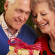 Senior Couple Exchanging Christmas Gifts — Stock Photo #11881081
