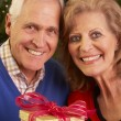 Senior Couple Exchanging Christmas Gifts — Stock Photo #11881082