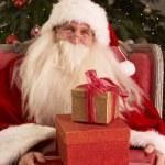 Mikulášské posezení v křesle před vánoční stromeček — Stock fotografie