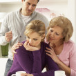 Senior Mother Interferring With Couple Having Argument At Home — Stock Photo #11881179