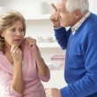 Senior Couple Having Argument At Home — Foto de Stock