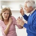 Senior Couple Having Argument At Home — Stock Photo