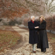 Senior Couple On Winter Walk Through Frosty Landscape — Photo