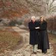 Senior Couple On Winter Walk Through Frosty Landscape — Stock Photo #11881211