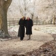 Senior Couple On Winter Walk Through Frosty Landscape — Foto de Stock