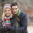 Couple On Romantic Winter Walk Through Frosty Landscape — Stok fotoğraf