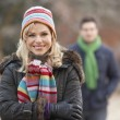 Couple On Romantic Winter Walk Through Frosty Landscape — Stock Photo #11881240