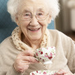 Senior Woman Enjoying Cup Of Tea At Home — 图库照片