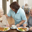 Foto Stock: Senior Couple Being Served Meal By Carer
