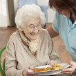 Senior Woman Being Served Meal By Carer — Stock Photo #11881360
