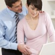 Couple Working From Home Using Laptop — Stock Photo