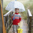 Boy standing on footbridge with umbrella - Zdjęcie stockowe