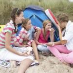 Teenagers having picnic — Stock Photo