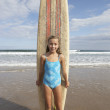 Girl with surfboard — Stock Photo