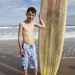 Stock Photo: Teenage boy with surfboard