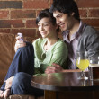 Couple in love in Cafe — Foto Stock